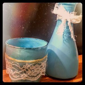 Handpainted rustic blue vases